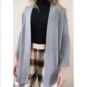 Gray Mid-length Woven Cardigan
